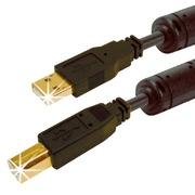 USB-Kabel 2.0 A/m-B/m, Gold+Ferrit, 0,3m