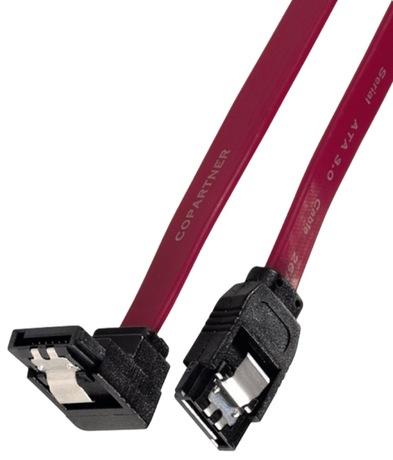 Image of Kabel SATA 1xabgewinkelt intern 0,6m rot