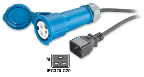 Image of Adapterkabel IEC309 to IEC320-C20, 16A