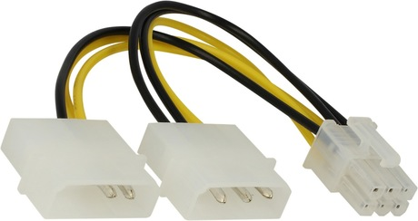 Image of Stromadapter 1x6pin St - 2x4pinSt 0,15 m