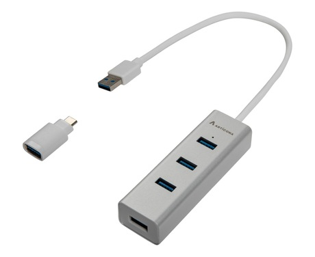 Image of ARTICONA USB Hub 3.0 4-Port alu/weiß